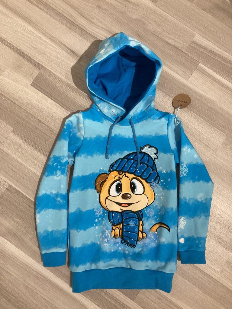 Blauer Kinder-Hoodie mit Bär